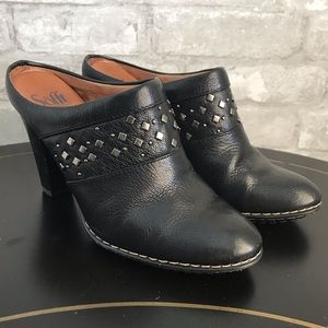 Sofft Women's Black Leather Studded Mule Clogs